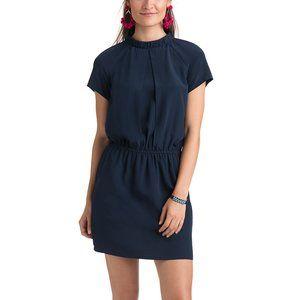 Vineyard Vines Gathered Neck Dress Navy Blue Sz 0